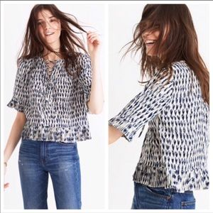Madewell Sunpleat Lace-Up Painted Feathers Top